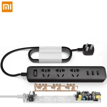 Xiaomi Mi Power Strip Patch Board with 3 USB Port 2A Fast Charge Mini Socket Adapter (Black)