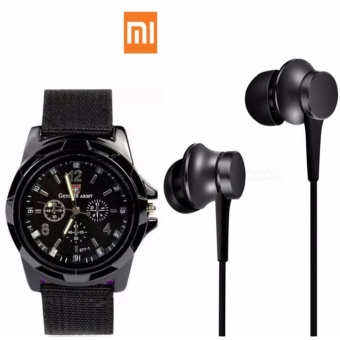 Xiaomi Piston Fresh (2017 Edition) (Black) with GEMIUS ARMYMilitary Sport Style Army Men's Black Canvas Strap Watch Price Philippines