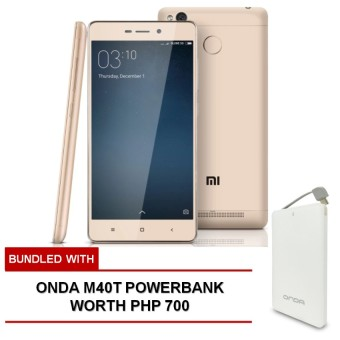Xiaomi Redmi 3s 2GB RAM 16GB ROM (Gold) bundled with FREE Onda M40T Powerbank worth Php 700