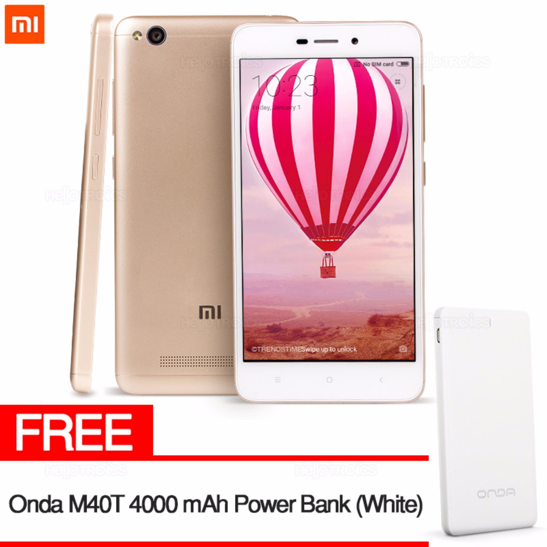 Philippines Xiaomi Redmi 4a 2gb Ram 16gb Rom Gold With Free Onda 2 M40t 4000 Mah