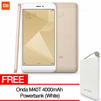 Xiaomi Redmi 4X 2GB RAM 16GB ROM (Gold) with FREE ONDA M40T Power Bank (White)