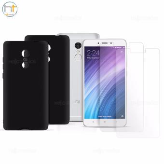 Xiaomi Tempered Glass Set of 2 (Clear) with 2 Jelly Case (Black) for Mi Note 4