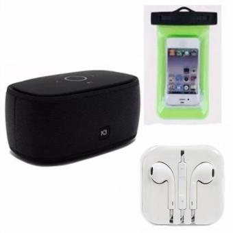 XZY 3008 K3 Bluetooth Smart Speaker (Black) With High QualityWaterproof Cellphone Pouch (Green) and Headset (White) Price Philippines