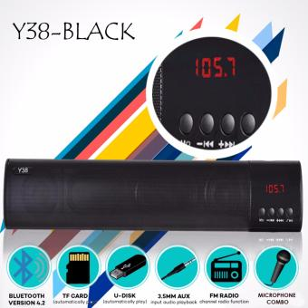 Y38 Wireless Bluetooth soundbar Support TF card Built in MIC AUX 3.5mm Slot (Black) Price Philippines