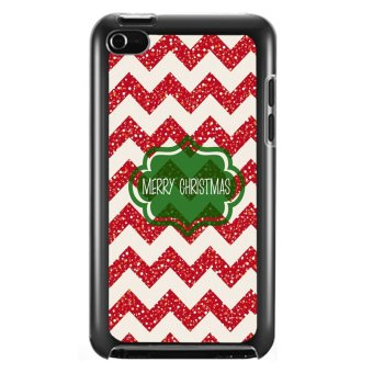 Y&M Merry Christmas Red Stripes iPod Touch 4 Cover (Multicolor)