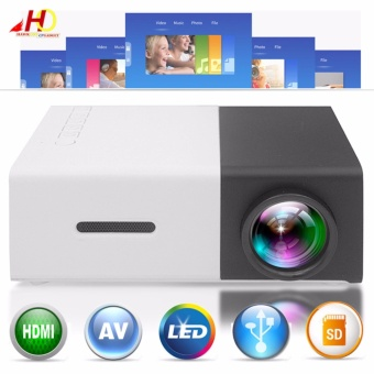 YG300 YG-300 Portable Projector LCD Mini Portable 400 - 600LM 1080PLED Projector Home Cinema Theater USB SD HDMI (Black)