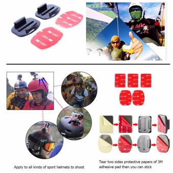 YICOE 4pcs Flat and Curved Base Adhesive Mount 3M VHB Stickers forGo pro 5 4 3 Xiaomi Yi 4k SJCAM SJ4000 EKEN H9 Action Sport CameraAccessories - 4