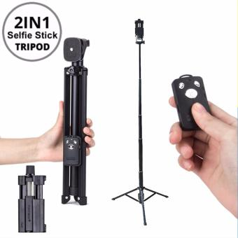 Yunteng VCT-1688 2 in 1 Extendable Selfie Stick Monopod/Tripodwith Bluetooth Remote Shutter for Android and IOS VCT1688 (Black)