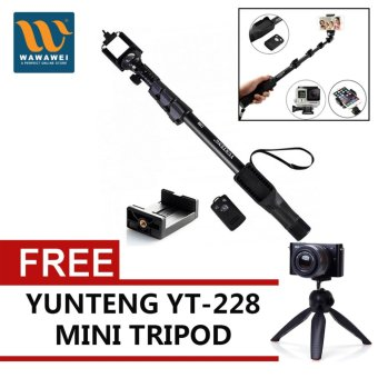 Yunteng YT-1288 42.5cm Bluetooth Selfie Monopod Extendable HandheldPole with Shutter Remote Control with free Yunteng YT-228 18.5cmMini Tripod (Black)
