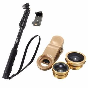 YunTeng YT-188 Universal Monopod for Mobile Phones and SportsCameras (Black) With 3 in 1 Macro/Fish-eye/Wide Clip Lens forMobile Phone and Tablets (Gold)