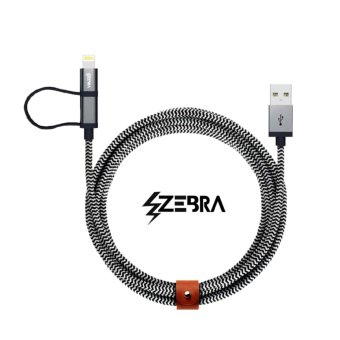 Zebra 2 in 1 Charging Cable Android and iPhone