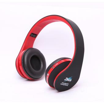 Zeus Z-300 Foldable bluetooth wireless/wired 2in1 headphone withbuilt-in Microphone(black/red)