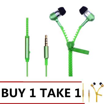 Zipper In-Ear Earphone (Green/Gold) Buy 1 Take 1