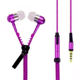 Zipper Stereo Headset with Mic (Violet) - 2