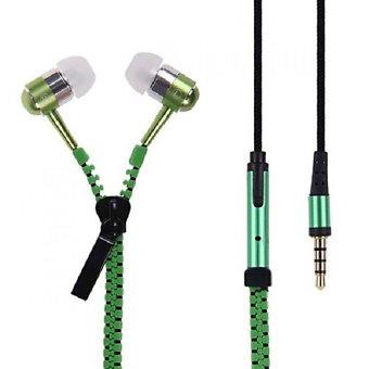 Zipper-Type 3.5mm Earphone with Mic (Green)