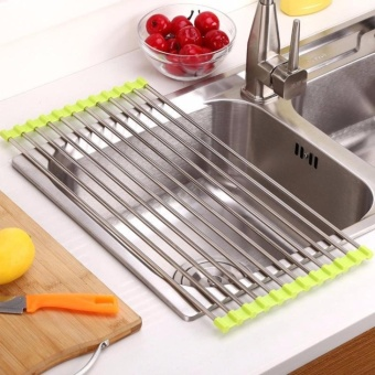 1 pc Kitchen Sink Rack Stainless Steel Foldable Dish Cutlery Drainer Drying Holder Fruits Cup Dish Sink Rack Drying Tool - intl