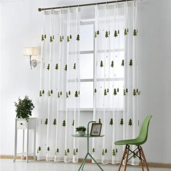 1 PCS 150X270 Drapes window tree embroidered sheer room voile living tulle curtain Christmas fabrics modern White - intl - picture 2