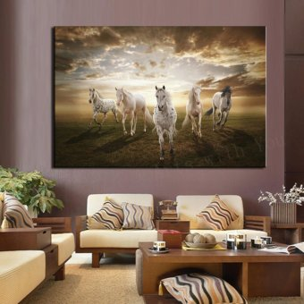 1 Piece picture Running White Horse Modern Home Wall Decor painting Canvas Art HD Print Painting for living room (No Frame) - intl