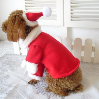 1 SET New Pet Puppy Cat Dog Santa Claus Christmas Decoration Coat Costume Outfit Clothes Apparel - intl - picture 2