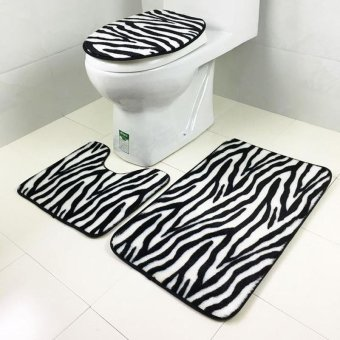 1 Set Washable Bathroom Carpet Toilet Seat Cover Toilet Bath ShowerPad Mat Rug Cotton Soft Bath Mats - intl