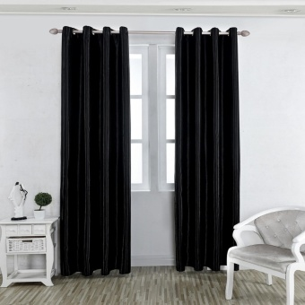 1 x 2.5m Solid Color Room Door Window Balcony Darkening BlackoutCurtain Valance Bedroom Grommet Window Curtain Panels Black - intl