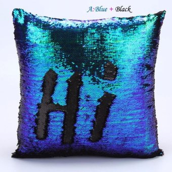 10-Color Vogue Double Color Reversible Sequins Mermaid Glitter SofaCushion Cover Pillow Case - intl