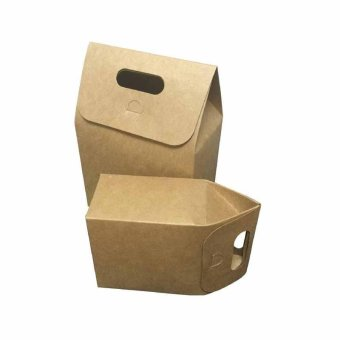 10 Pcs Kraft Paper Foldable Snacks Bags Candy Box Wedding GiftsPackage size:L - intl