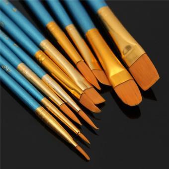 10 Pcs Nylon Wooden Handle Paint Brush Set For Painting Art Supplies - intl - 3