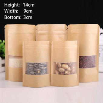 100 pcs 9x14+3cm Stand Up Bulk Food Storage Ziplock Bag Food Moisture-proof Bags,Window Bags Brown Kraft Paper Doypack Pouch Ziplock Packaging for snack,Cookies, Mylar Heat Sealable Smell Proof Pouches Tear Notch Coffee Zipper Valve Grocery Wrap - intl