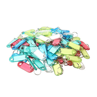 100 Pcs Colorful Clear Plastic Key Tags ID Label with Key Chain TagCard Split Ring (Intl) - 4