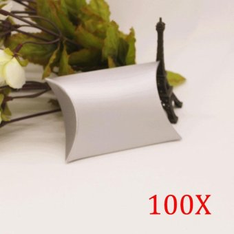 100 Pcs Pillow Style Favors Candy Paper Boxes Party Gift Boxcolor:Silver Gray - intl