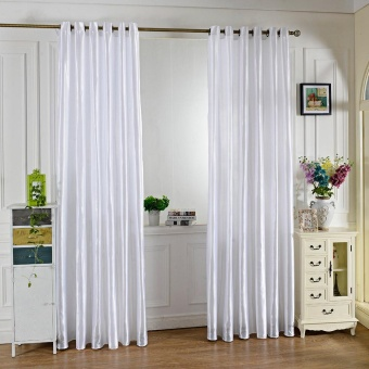 100 x 250CM Pure Color Grommet Ring Top Blackout Window Curtain for Bedroom Living Room - intl