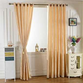 100 x 250CM Pure Color Grommet Ring Top Blackout Window Curtain forBedroom Living Room - intl - 2