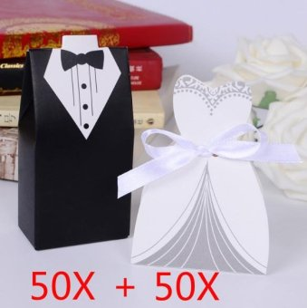 100pc/lot Elegant Candy Box For Wedding Sweet Bag Wedding FavorsGift For Guest Bride Groom Wedding Dresses Party Decoration - intl