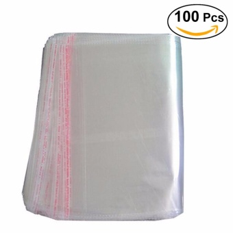 100pcs 25 * 34cm Clear Plastic Cello Bags Grip Peel & SealStrong Packing Self Adhesive Cellophane Bag - intl