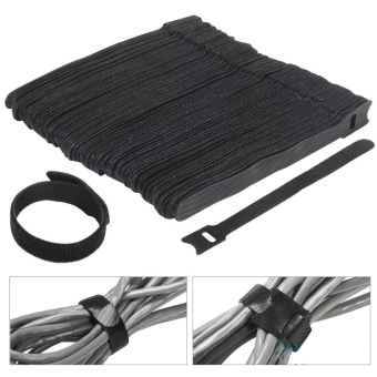 100pcs Cable Ties 6 Inch Fastening Cable Ties with Reusable Hook and Loop Strap Cable Ties for Organizer Fastening (Black) - intl