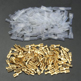 100Pcs Copper 4.8mm Female Spade Crimp Terminals 22~16AWG 0.5mm Thickness - intl