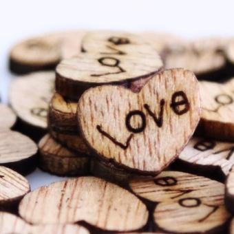 100pcs Rustic Wedding Guest Book Wooden Heart Shapes Embellishments- intl - 4