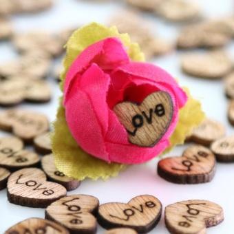100pcs Rustic Wedding Guest Book Wooden Heart Shapes Embellishments- intl - 2