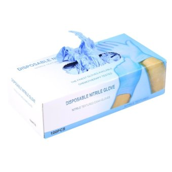 100Pcs/Box Nitrile Disposable Powder Latex Textured Gloves GlovesBlue M - intl