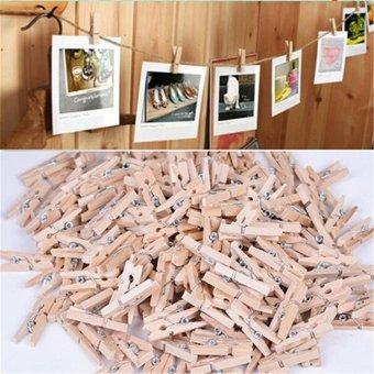 100x 25MM Mini Natural Wooden Clothe Po Paper Peg Clothespin Craft Clips Arts - intl - 2