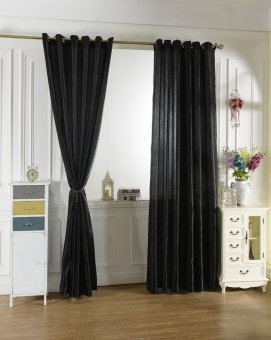 100x200cm Modern Jacquard Window Room Panel Shade Curtain Drape(Black)