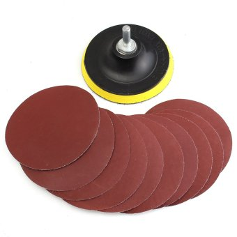 10Pcs 4'' Sanding Disc Sandpaper Hook Loop 1000 + Backer Pad with Drill Adapter - intl