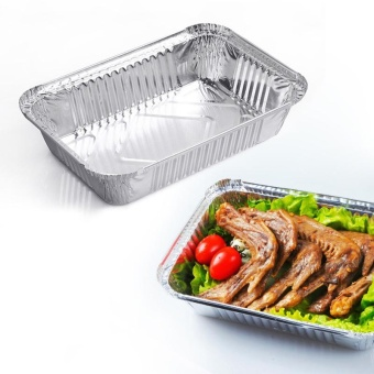 10pcs 830ML Aluminum Foil Trays Pans Food Containers Plate BowlMicrowavable Tableware With Lid - intl