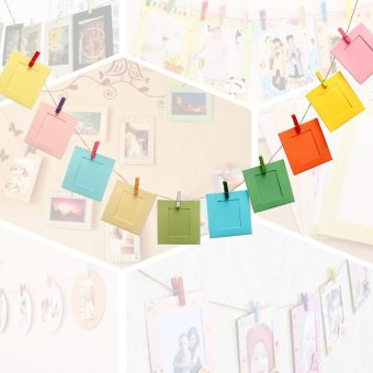 10Pcs DIY Paper Photo Picture Frames Clips Hanging Rope Album Card Wall Decor - intl - 2
