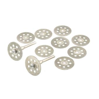 10PCS Mini 22mm Vented Rotary Diamond Cutting Disks+Mandrel Dremel Tools DIY