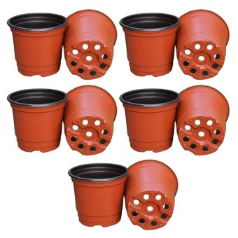 10Pcs Plastic Flower Pots Planters Double Color Garden PlantNursery Pots Container for Growing Herbs Smaller Annual Vegetables- intl