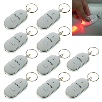 10PCS White LED Light Keys Finder Lost Thing Locator Whistle SoundSensor