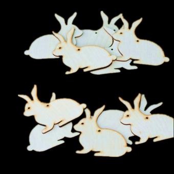 10pcs Wooden MDF Rabbit Shape Tags Decoration 6cm - picture 2