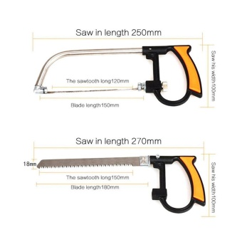 11 In 1 Magic Bow Saw Hand Home Tools Kit Steel Glass Wood Working Cutting with Box Orange - intl - 4